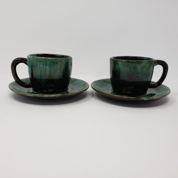 Blue Mountain Pottery Tea Cups With Saucers 2 Sets